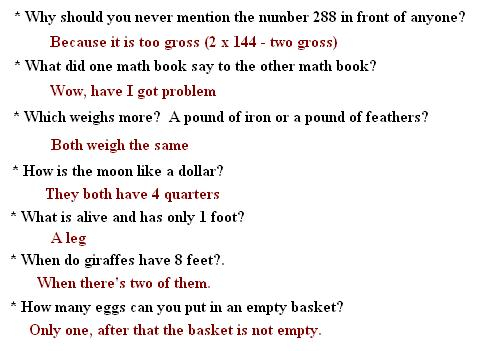 answers for maths riddles