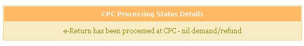 CPC Processing status : nil demand nil tax