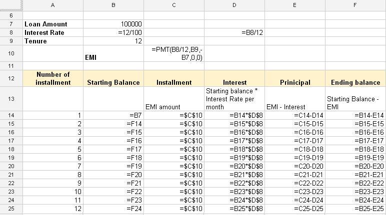emi calculator for home loan excel