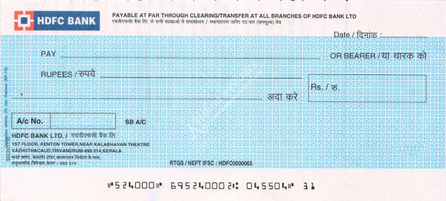 HDFC bank cheque before CTS 2010