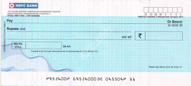 HDFC bank cheque for CTS 2010