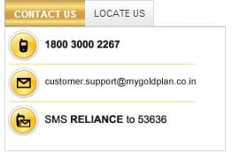 Reliance my gold plan contact details