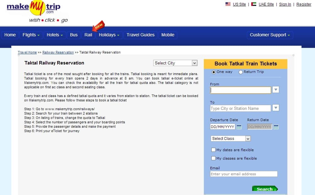 Tatkal information on Makemytrip.com