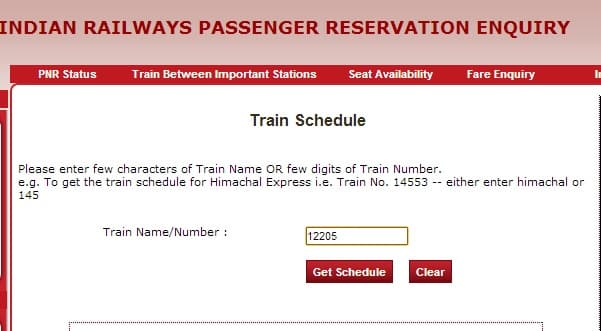 Get schedule from indianrail.gov.in