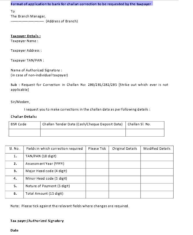 All About Taxtion How To Correct Challan 280 If You