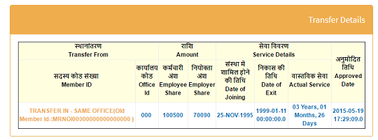 Transfer EPF account details in UAN passbook