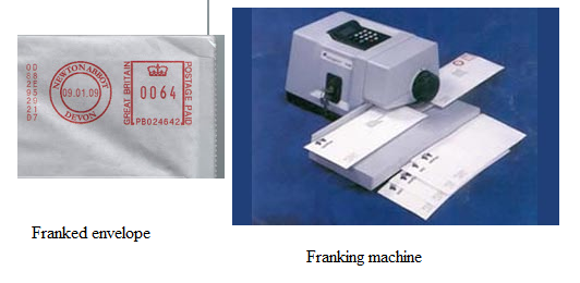 Postal Franking and Franking machine