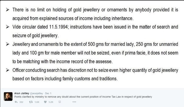 Finance Minsiter on gold jewellery how much gold you can keep
