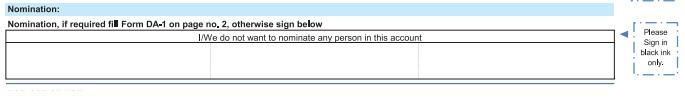Nomination section in Account opening form