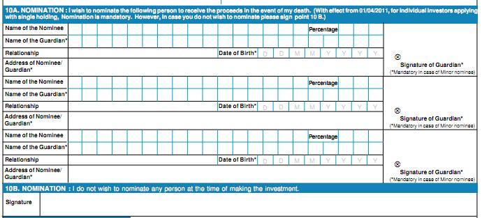 Nomination section of SBI Gold Fund Form