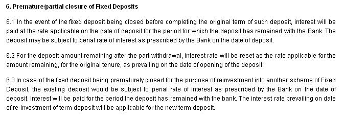 Terms and Conditions for Premature closure of Fixed Deposit in ICICI banks
