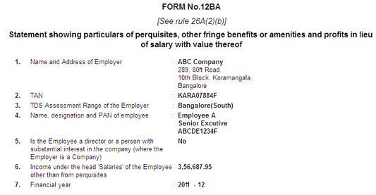 Form 12BA: Details about employer, employee
