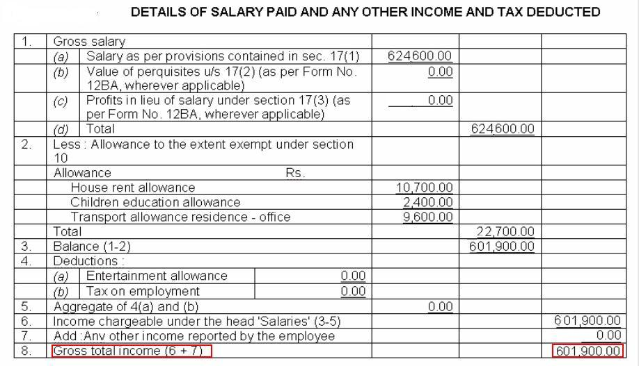 Income Details including exemptions in Form 16