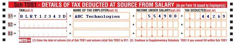 ITR1: Sch TDS1 Tax deducted at Source