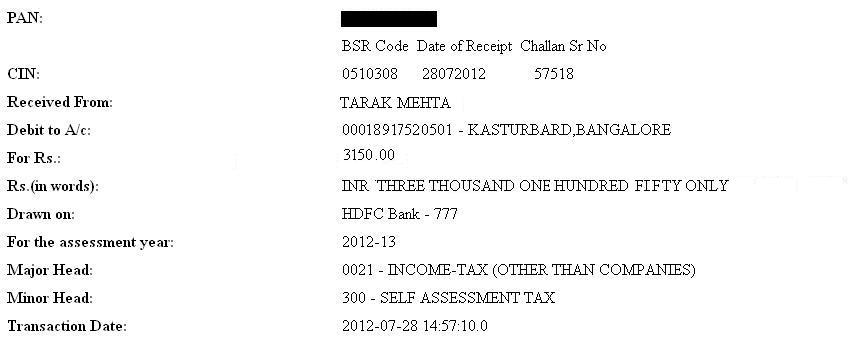 Paying Income Tax : Challan 280