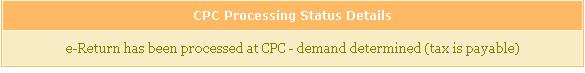 CPC Processing status : need to pay tax