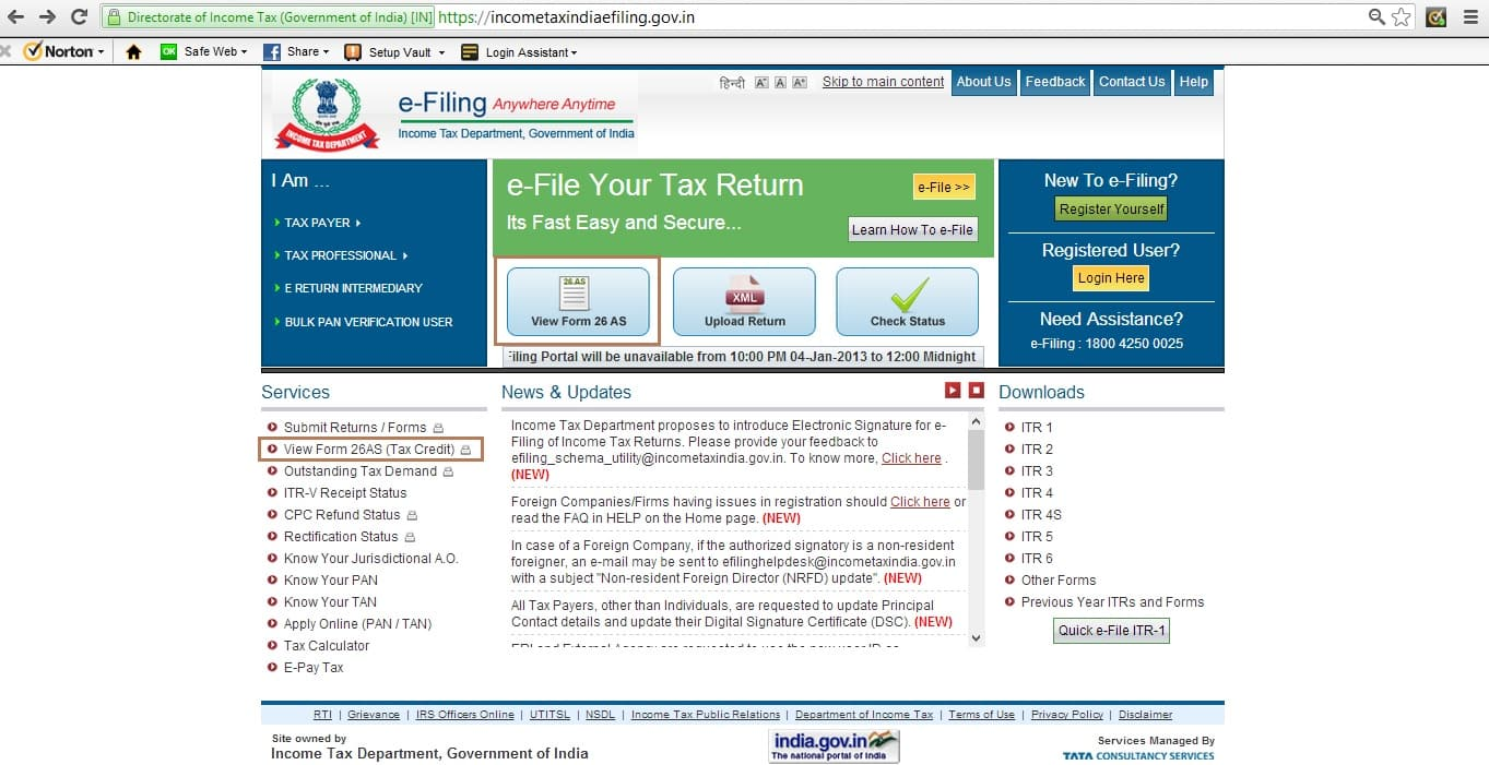 IncomeTaxindia website: View Form26AS (Tax credit)
