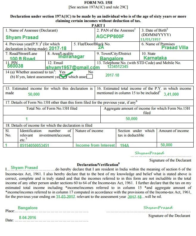 Senior citizenfixed deposits and tax sample filled form 15h for senior citizen for no tds on fixed deposit interest senior citizen yadclub Choice Image