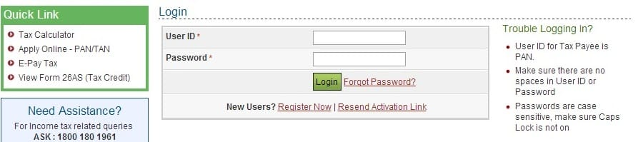 Logging to IncomeTax website
