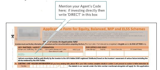 Mutual Fund Application Form showing ARN