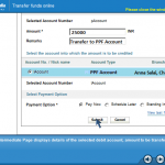 Select Account for Fund Transfer from SBI account to PPF account in SBI