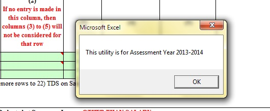 Assessment Year Info on opening excel file