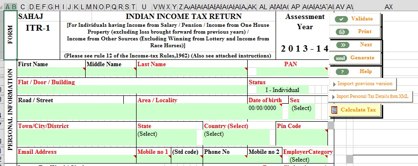 E-filing : Excel File of Income Tax Return