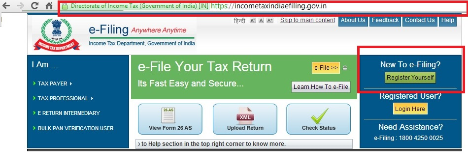 Register at income tax e-filing website