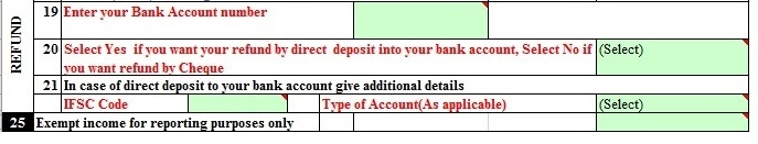 Bank Details and exempt income