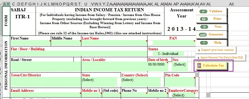 Fill Excel ITR1: 80G, Exempt Income,Calculation of Tax