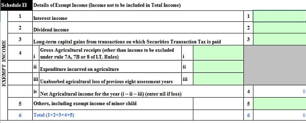 Exempt Income in ITR