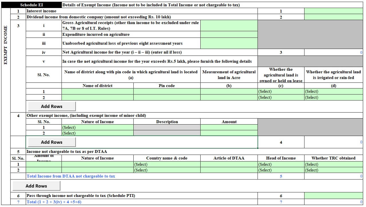 Exempt Income in ITR2