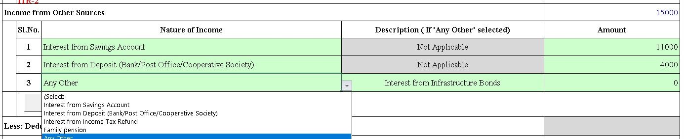 Income from Other sources in ITR1