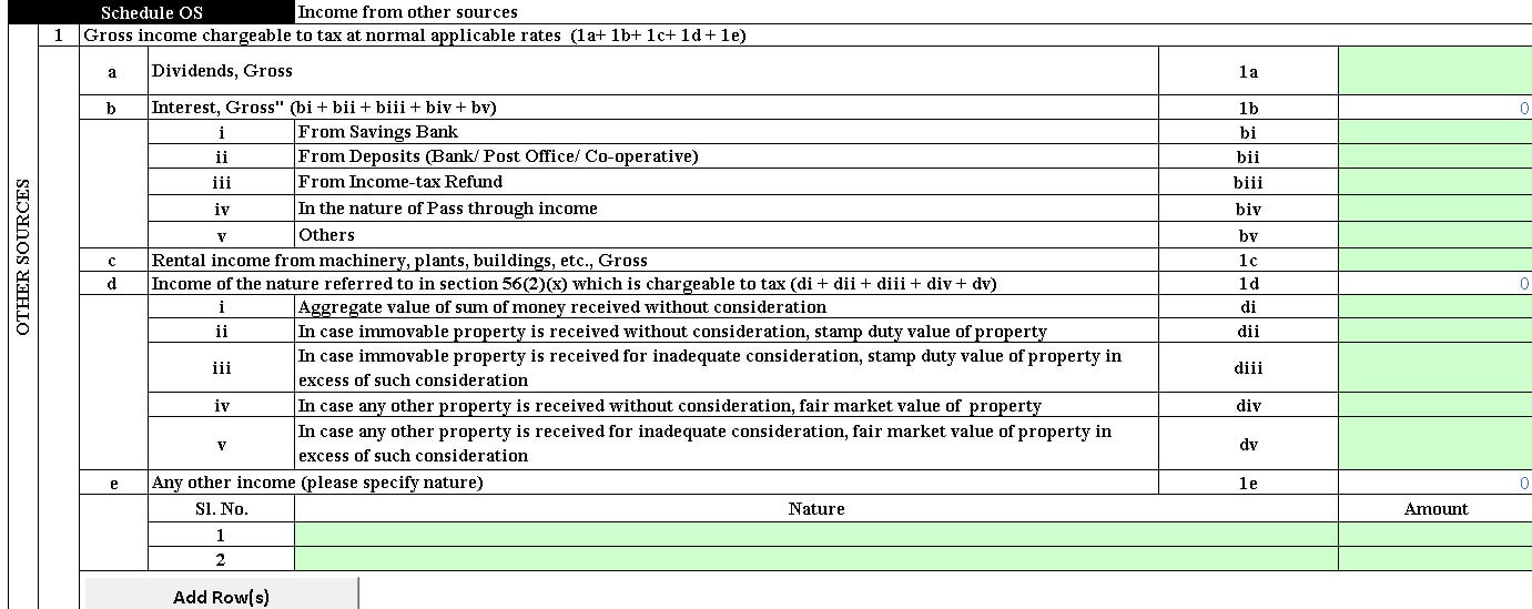 Income from Other sources in ITR2