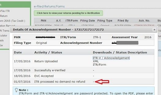 After e-filing ITR: ITR-V,Reciept Status,Intimation u/s 143(1)