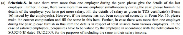 Instructions in ITR2 to fill salary