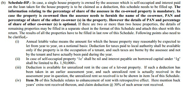 Instructions for Filling Income from House Property in ITR2