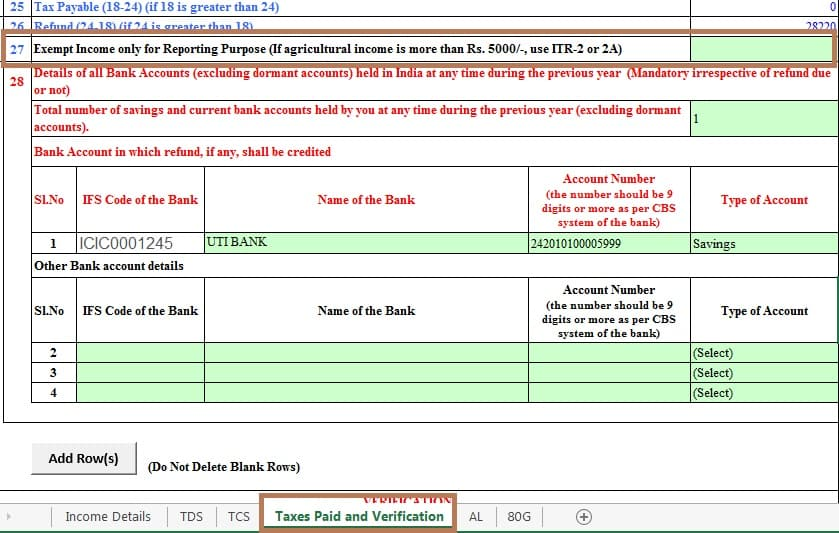 Exempt Income in ITR1
