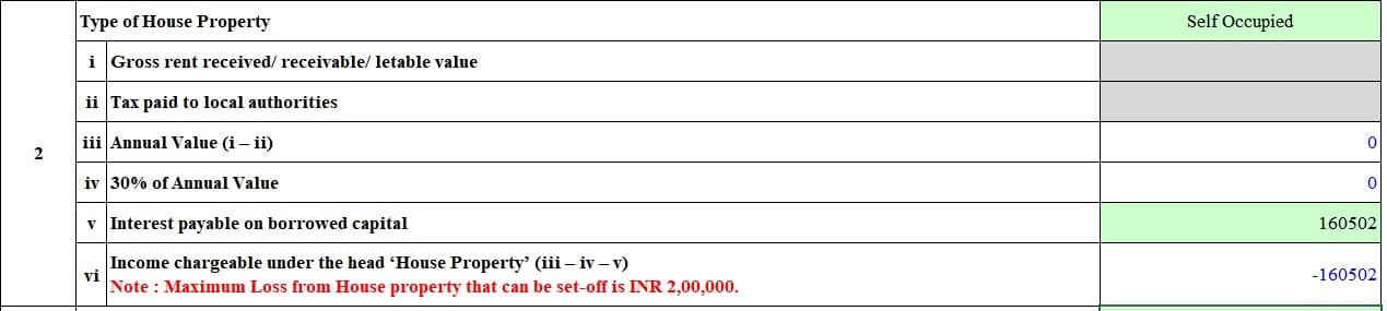 Show Self Occupied property in ITR1 with home loan interest