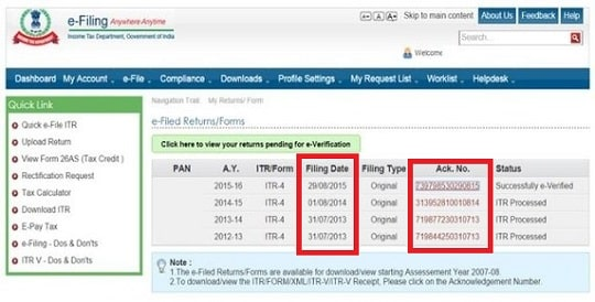 Acknowledgement Number of Efiling return to Revise Income Tax Return