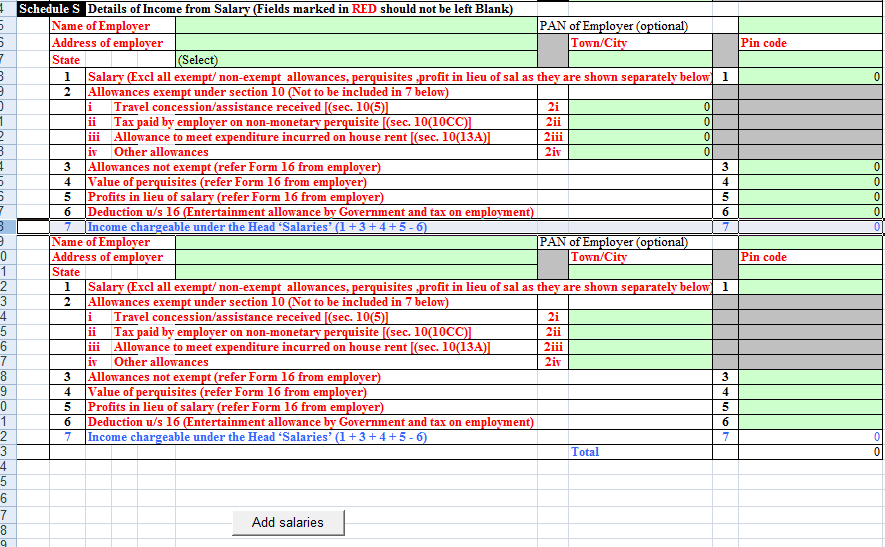 ITR2 Excel Utility With Mutiple Salaries