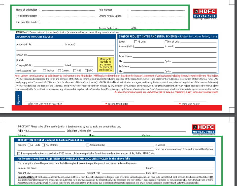 Mutual Fund redemption Form,Redeeming Mutual Fund