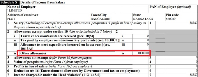 How to show gratuity in ITR