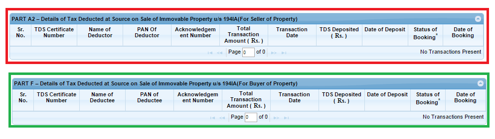 TDS details of Buyer and Seller of Property in Form 26AS for TDS on Property