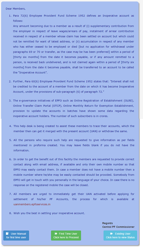 EPF HelpDesk For Inoperative EPF Account Introductory Page
