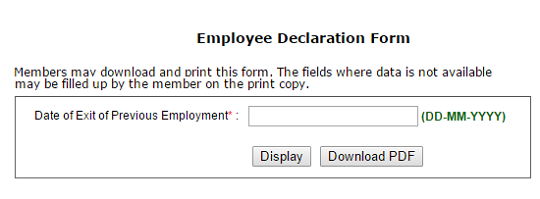 Filled EPF Form 11 from UAN website