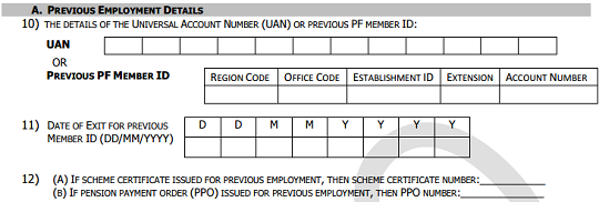 EPF Form 11 Previous Employment