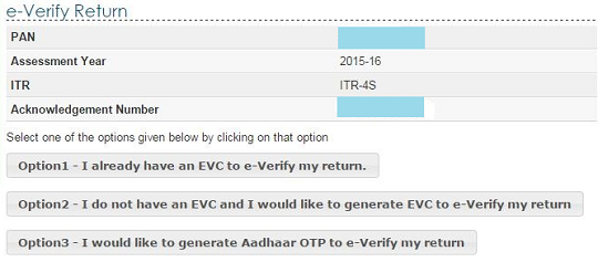 Options to generate EVC for e verification of ITR