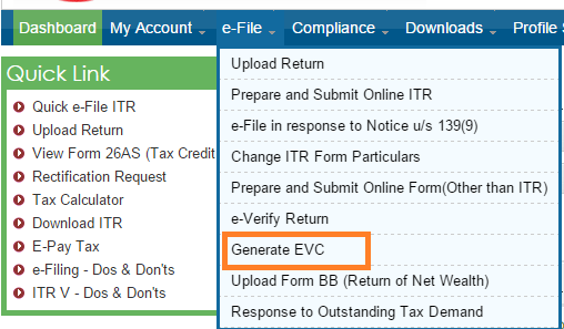 Generate EVC for ITR from income tax india efiling website everify ITR with EVC