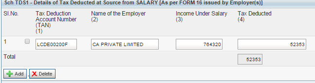 Tax details Prefilled from Form 26AS